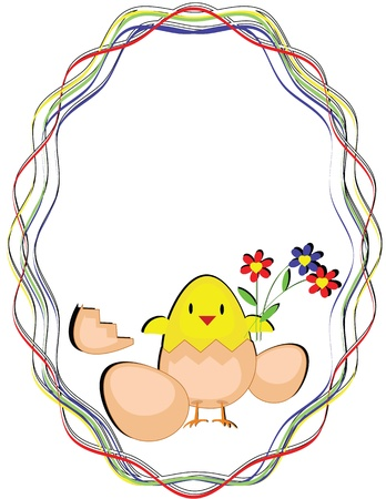 Oval frame with chicken, vector  Vector