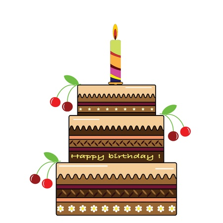 layer cake: Birthday cake Illustration