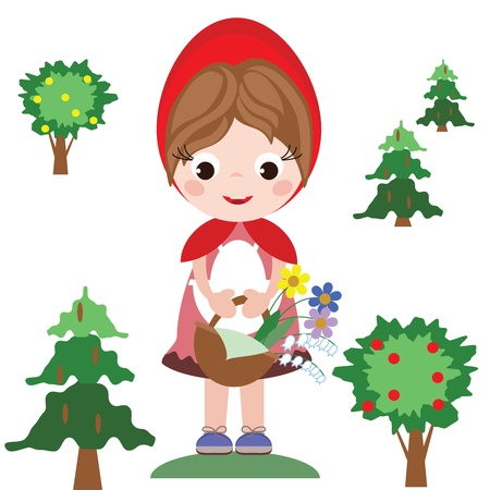 cartoon little red riding hood: Red riding hood Illustration