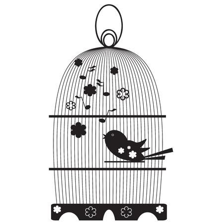 lonely bird: Vintage birdcage with birds