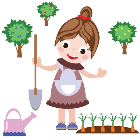 Girl grows carrots Vector