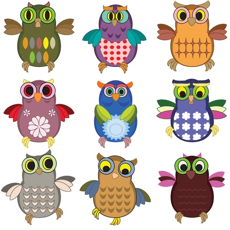Owls set Ilustrace