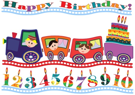number candles: Birthday card Illustration