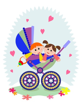 Twins in the carriage Stock Vector - 20330792