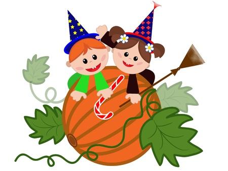 harridan: Children on the pumpkin  Illustration