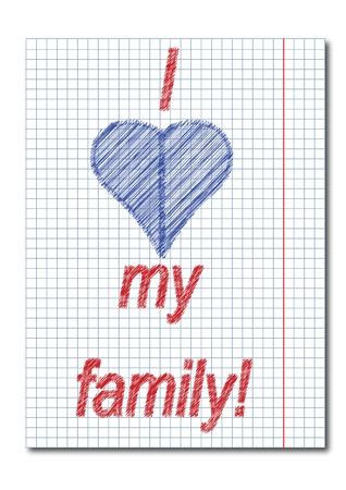 exercise book: I love family ,letter