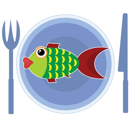 Fish on the plate Vector