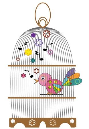 Birdcage with bird  Vector
