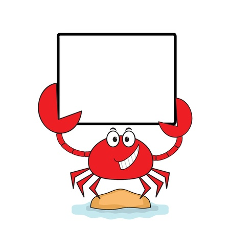 Crab with banner  Vector
