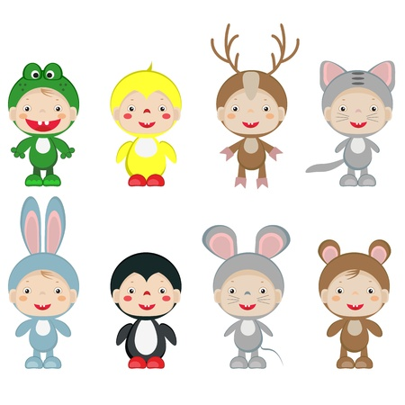 Children in the costumes of the animals Vector