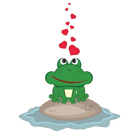 Frog in love Vector