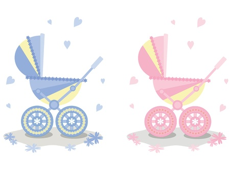 cradle: Two carriages, vector