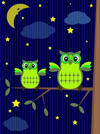 Owls in the night  Vector