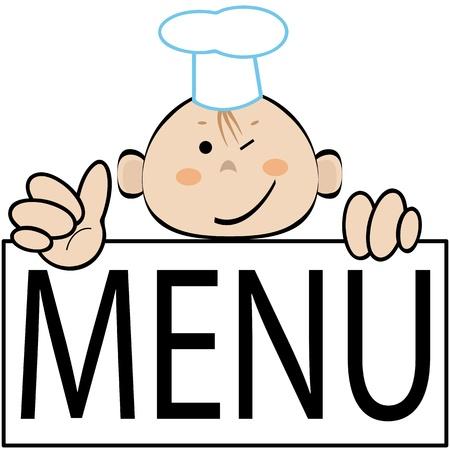 Funny cook with menu, vector   Vector