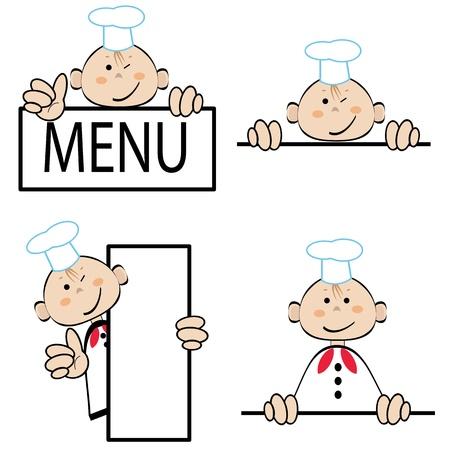 Cocinero divertido con el menú, vector conjunto Foto de archivo - 22121167