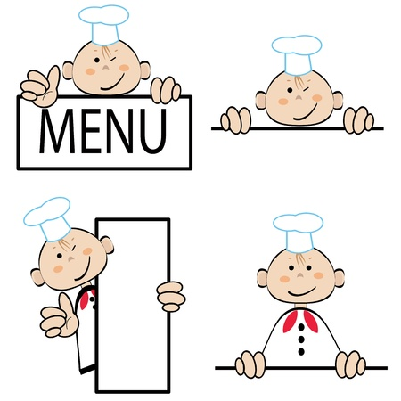 Grappige kok met menu, set vector Stock Illustratie