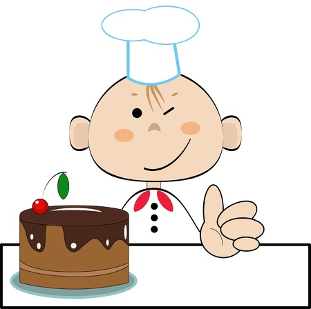 Funny cook with cake, vector  Vector