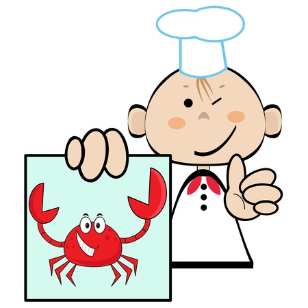 Funny cookwith picture of the crab, vector  Vector