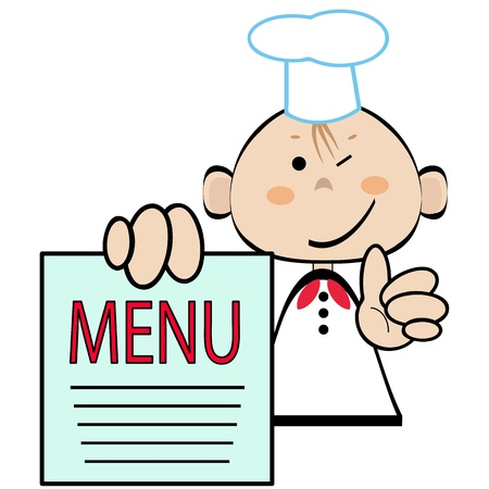 Funny cookwith menu , vector  Vector