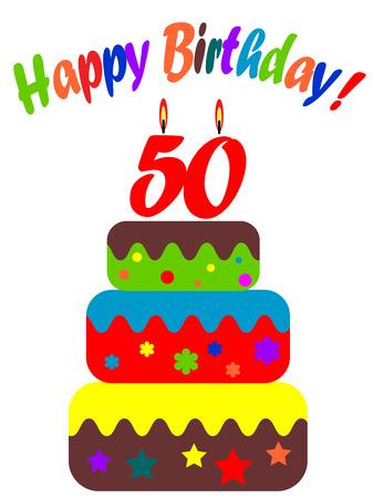 fiftieth: Birthday card, for fiftieth anniversary Illustration