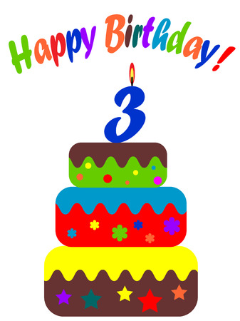 number candles:   Birthday card , for three years