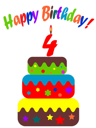 Birthday card , for four years  Vector