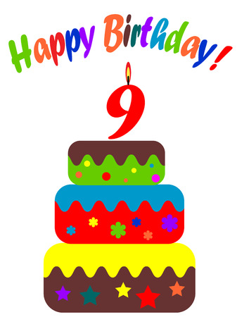 Birthday card , for nine years Vector