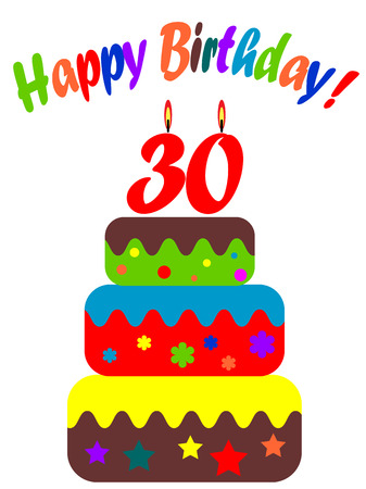 Birthday card,for thirtieth  Vector