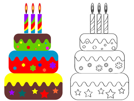 Coloring for children , birthday cake   Vector