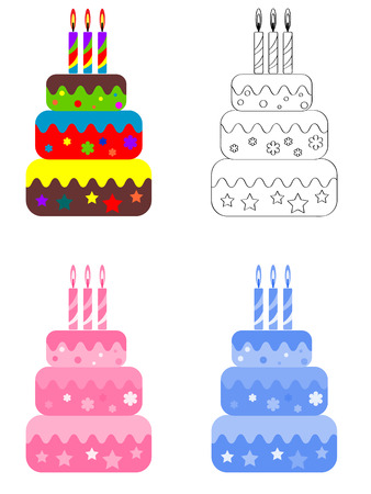 Birthday cake, set  Vector