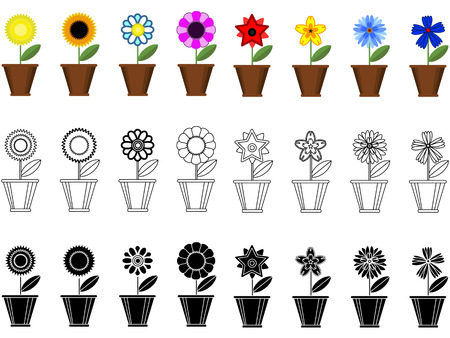 Flowers in the pots, border  Vector
