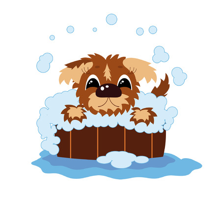 Puppy bathes in the barrel Vector