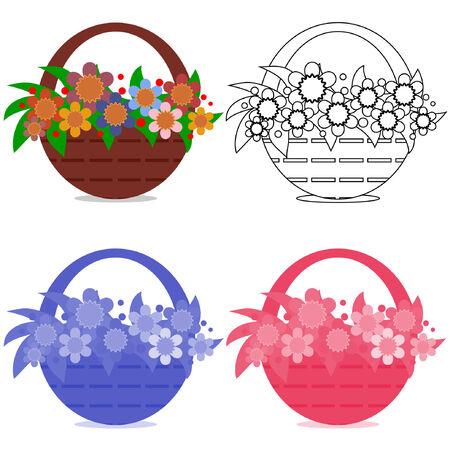 gift basket: Basket with flowers,set