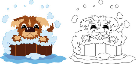 Puppy bathes in the barrel,coloring  Vector
