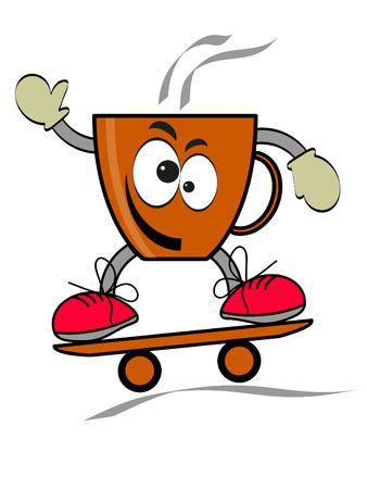 cartoon surfing: coffee, cup,  day, skate, vector, background,illustration, cartoon, surfing, coffe, fun, drawing, design, sport, extreme, board,cartoon,humor,