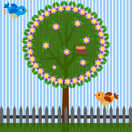 birds nest: Spring background