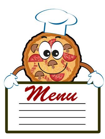 Pizza with menu. Vettoriali
