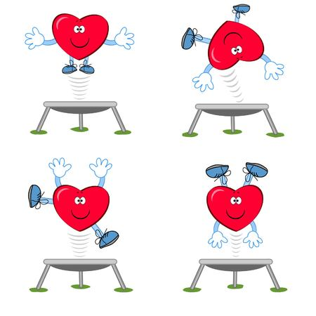 Heart on the trampoline. Vector