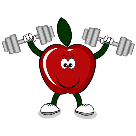 Red apple with dumbbell .