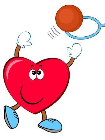 Heart sportsman basketball. Vettoriali