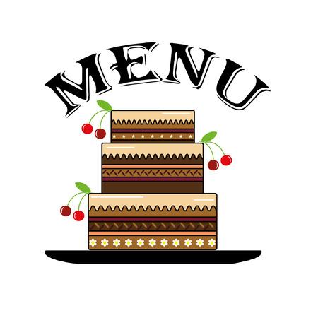 Menu ,cake.