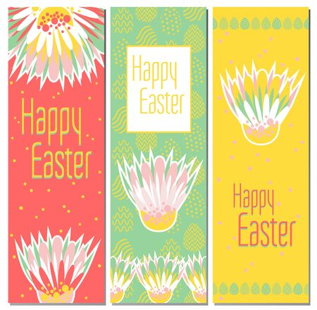 Easter cards with flowers, eggs and Easter greetings. Set of bright holiday banners. Childish backgrounds with Happy Easter. Bookmark for a book. 3 gift cards.