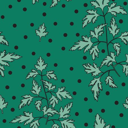 Seamless pattern with parsley. Background. Hand drawn sketch style. Ornament. Good textile print.