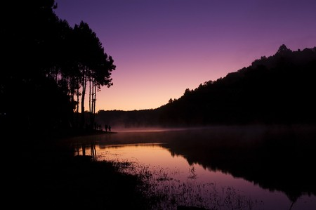 The first light of day at the Pang-Ung, Maehongson, Thailand photo