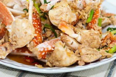 Stir fry garlic and crab, very delicious food Stock Photo - 8055985