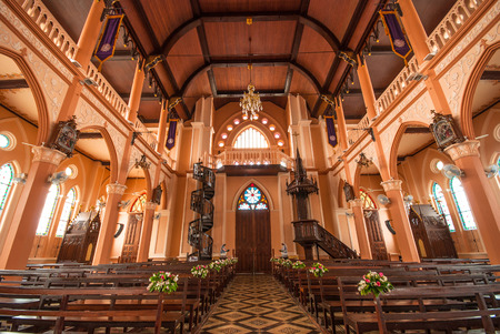 Decoration Inside the Roman Catholic Church at Chanthaburi Province, Thailand. (The Cathedral of the Immaculate Conception)