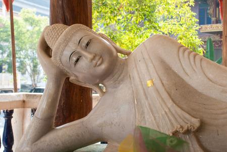 wiwekaram: Marble Buddha Statue  at Wang wiwekaram temple, Sangklaburi, Thailand