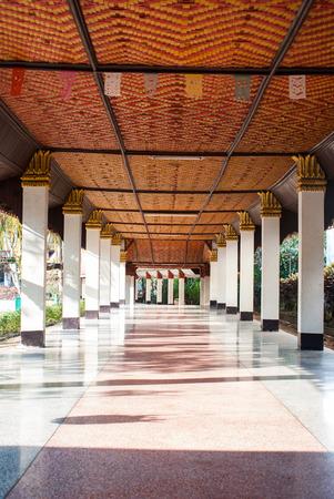 wiwekaram: Pillars in Wang Wiwekaram temple, Sangkla buri, Thailand Stock Photo