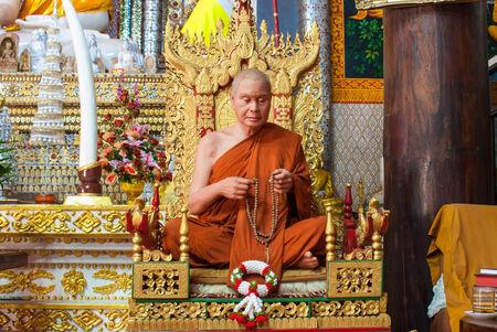 wiwekaram: The wax figure of Buddhist monk in meditation sitting position, Wang Wiwekaram Temple, Sangkla buri, Thailand