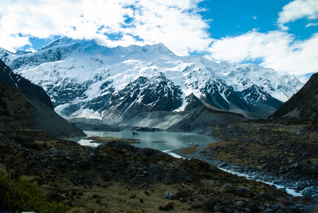 newzealand: Beautiful view and glacier in Mount Cook National Park, South Island, New Zealand Stock Photo